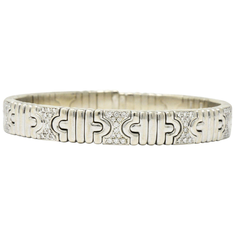 Bulgari Contemporary 1.20 CTW Diamond 18 Karat White Gold Parentesi Cuff Bracelet bracelet Contemporary out-of-stock signed