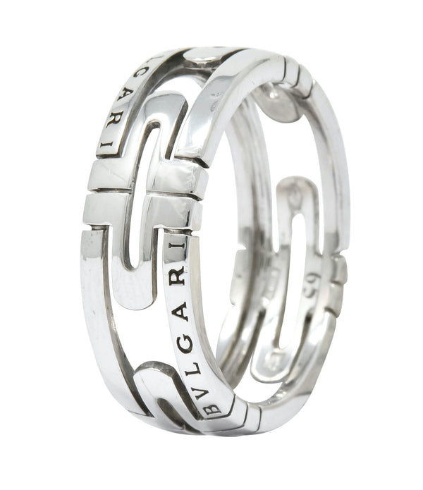 Bulgari Contemporary 18 Karat White Gold Parentesi Band Ring Ring
