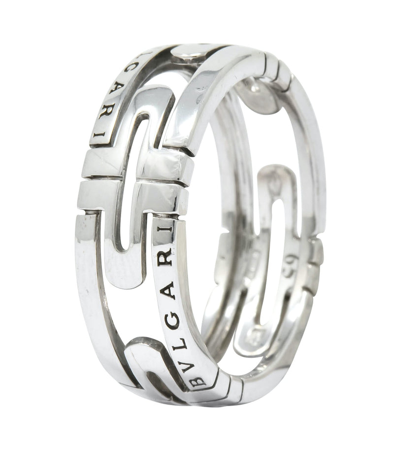 Bulgari Contemporary 18 Karat White Gold Parentesi Band Ring Ring bulgari Contemporary out-of-stock signed