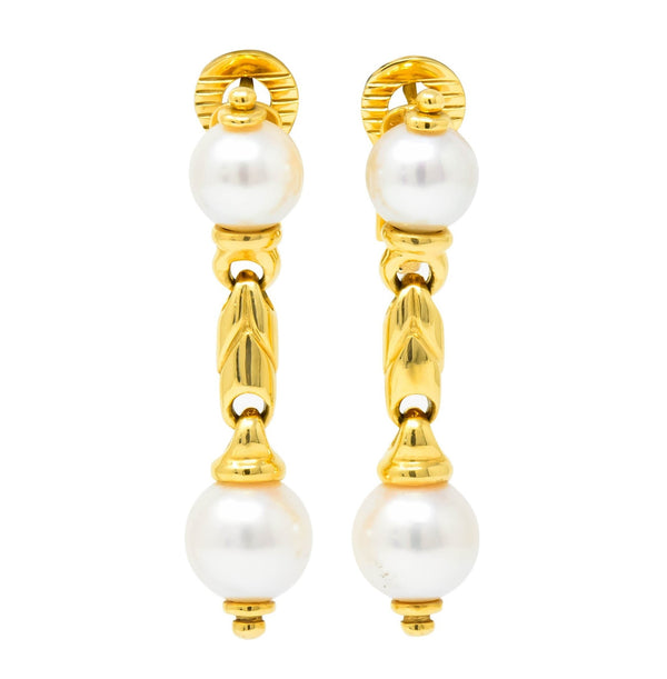 Bulgari Cultured Pearl 18 Karat Yellow Gold Drop Earrings Circa 1980 Earrings bvlgari Contemporary Pearl signed