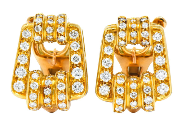 Bulgari Diamond 18 Karat Gold Link Ear-Clip Earrings - Wilson's Estate Jewelry