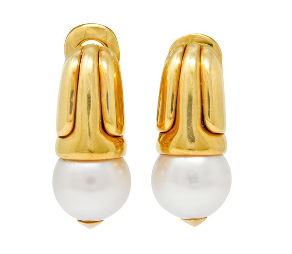 Bulgari Pearl 18 Karat Yellow Gold Drop Ear-Clip Earrings Earrings