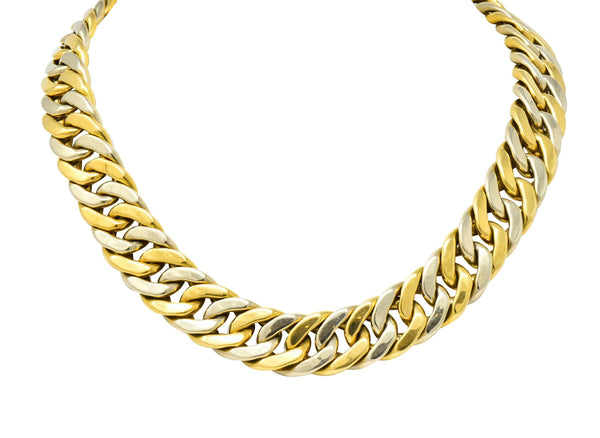 Carlo Weingrill Italian 18 Karat Two-Tone Yellow White Gold Unisex Curb Link Necklace Necklace
