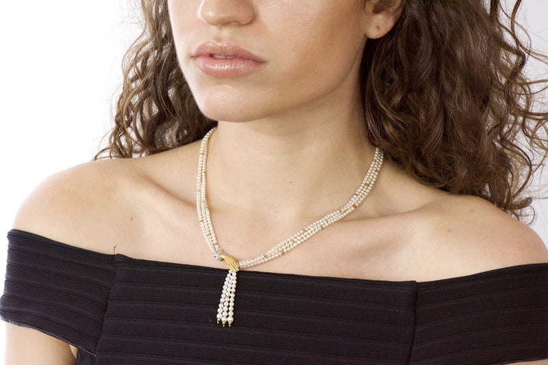 Carrera y Carrera 0.30 CTW Diamond Pearl 18 Karat Gold Las Manos Multi-Strand Necklace - Wilson's Estate Jewelry