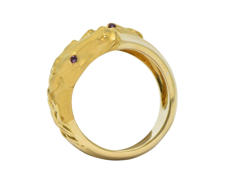 Carrera Y Carrera 0.30 CTW Diamond Ruby 18 Karat Gold Ecuestre Horse Ring - Wilson's Estate Jewelry