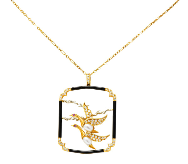 Carrera Y Carrera 1.00 CTW Diamond Onyx Pearl 18 Karat Two-Tone Gold Goose Pendant Necklace - Wilson's Estate Jewelry