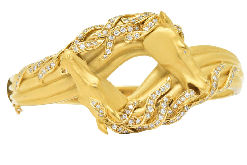 Carrera Y Carrera Ecuestre 1.45 CTW Diamond 18 Karat Horse Gold Bangle Bracelet - Wilson's Estate Jewelry