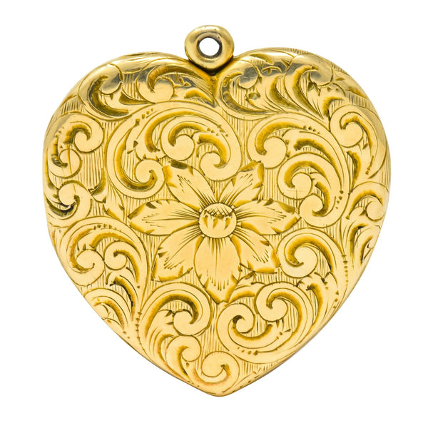 Carrington Co. Art Nouveau 14 Karat Gold Locket Floral Locket Pendant Circa 1900 Necklace