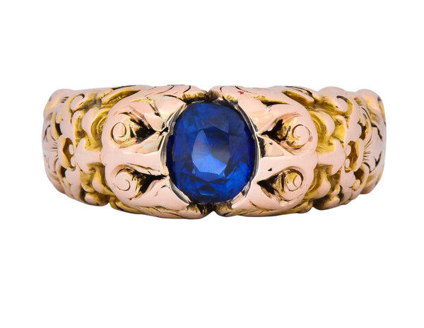 Carter Gough & Co. 1.32 CTW No Heat Sapphire 14 Karat Gold Anemoi God of Wind Unisex Ring AGL Ring