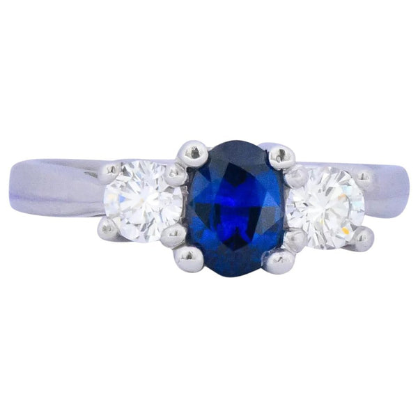 Cartier 1.15 CTW Sapphire Diamond Platinum Ring - Wilson's Estate Jewelry