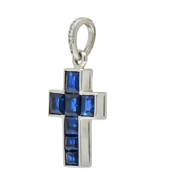 Cartier 1.25 CTW Sapphire Diamond Platinum Unisex Cross Pendant Charm - Wilson's Estate Jewelry