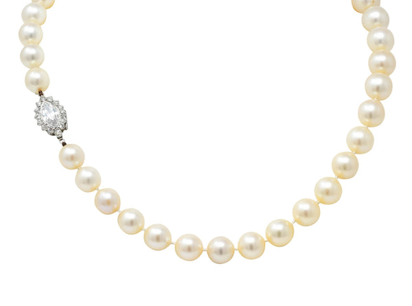 Cartier 1.31 CTW Diamond Cultured Pearl Platinum Knotted Strand Necklace GIA Necklace