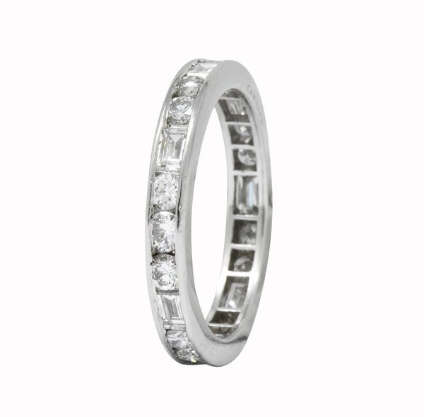 Cartier 1.75 CTW Round Brilliant Baguette Diamond Platinum Eternity Band Ring Ring