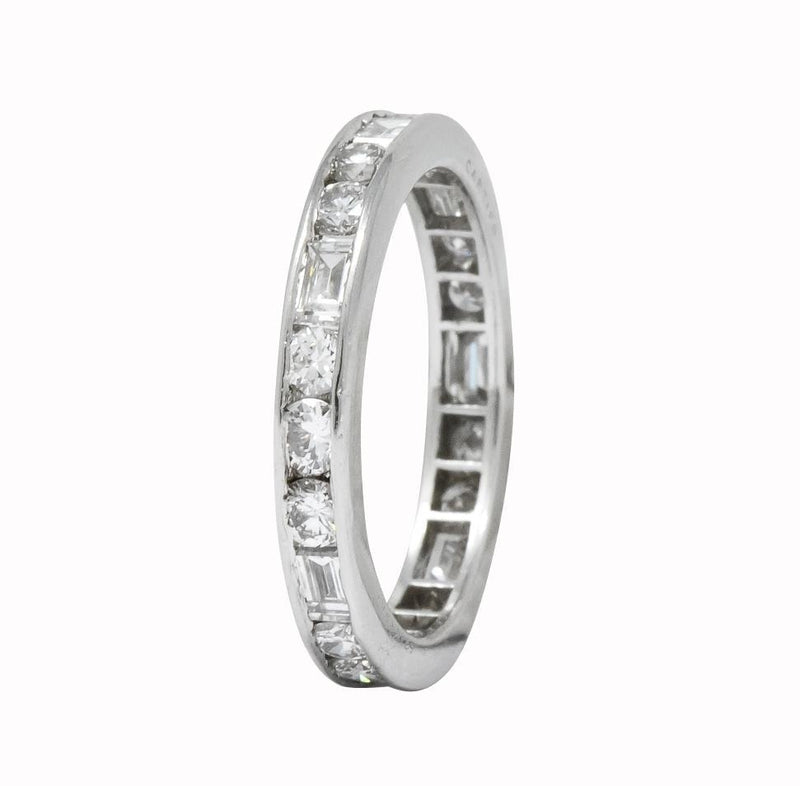 Cartier 1.75 CTW Round Brilliant Baguette Diamond Platinum Eternity Band Ring - Wilson's Estate Jewelry