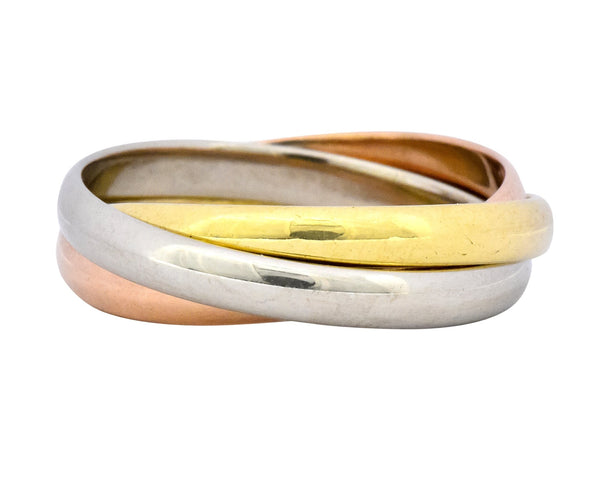 Cartier 18 Karat Tri-Colored Gold Unisex Trinity Rolling Ring Ring
