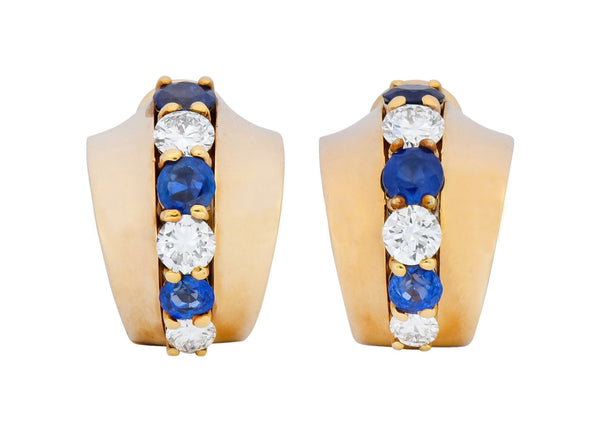Cartier 2.00 CTW Diamond Sapphire 14 Karat Gold Huggie Ear-Clip Earrings Earrings