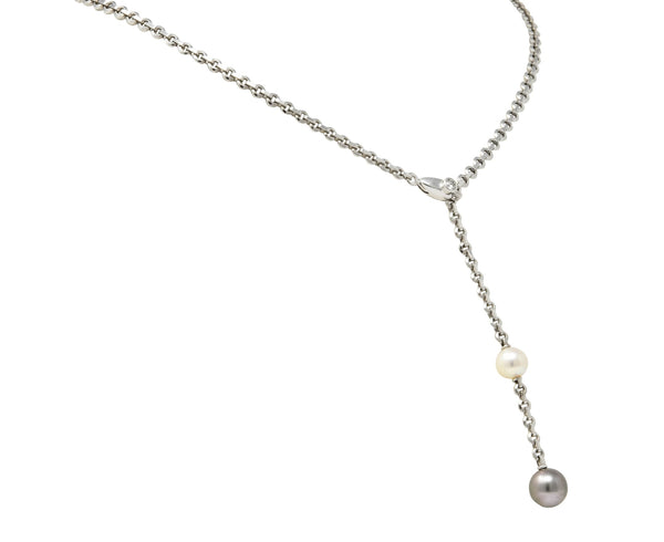 Cartier 2001 Diamond Cultured Pearl 18 Karat White Gold Lariat Drop Necklace Necklace