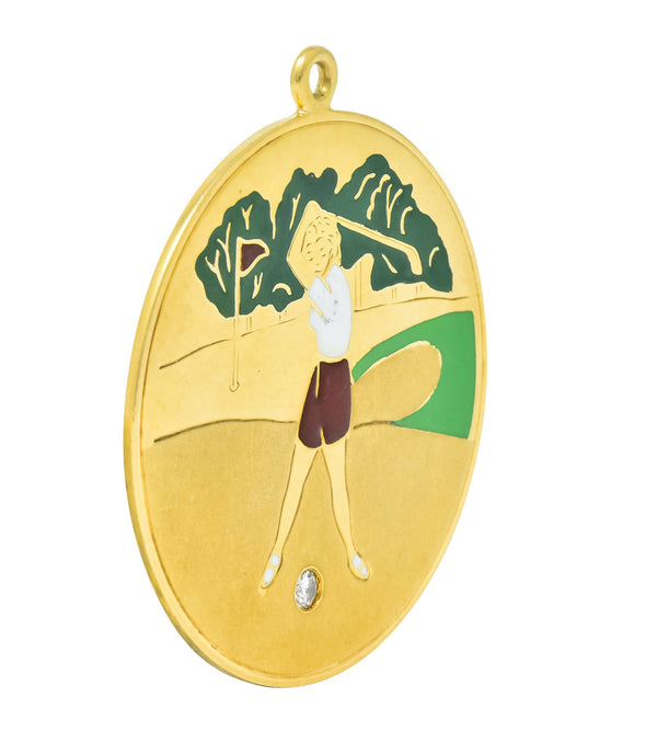 Cartier Mid-Century Diamond Enamel 14 Karat Gold Large Golfer Charm Pendant charm cartier diamond enamel Most Wanted out-of-stock