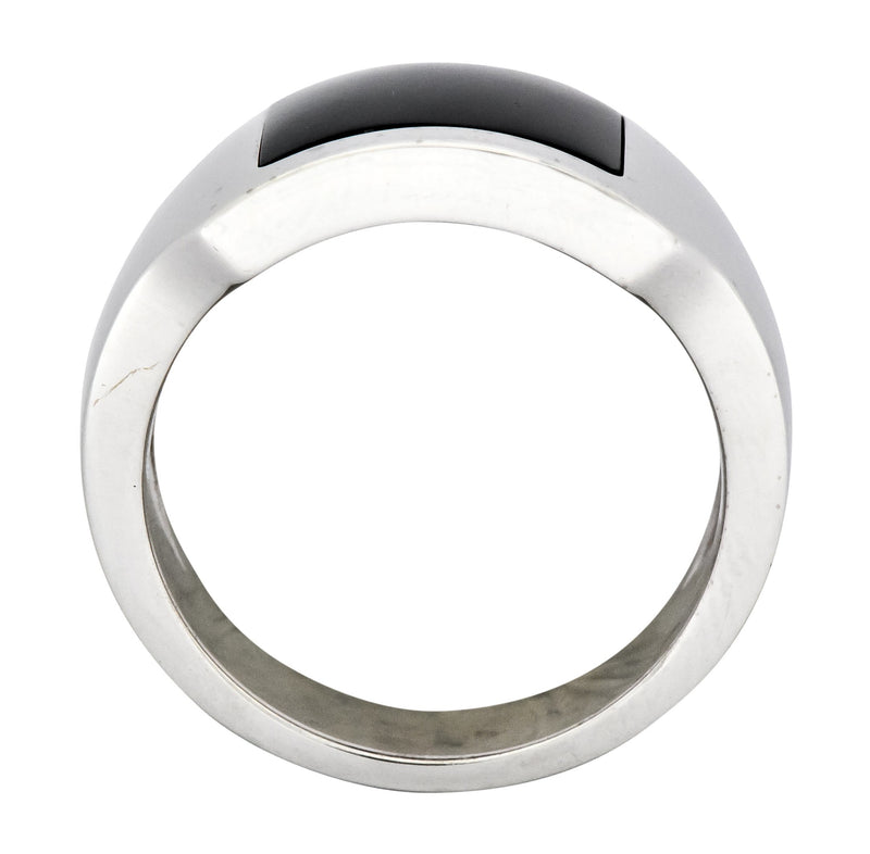 Cartier Modern Hawk's Eye 18 Karat White Gold Santos Dumont Men's Ring - Wilson's Estate Jewelry