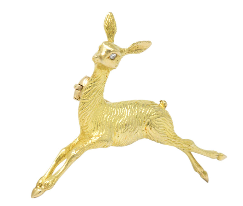 Cartier Retro French Diamond 18 Karat Gold Doe Deer Brooch Brooch