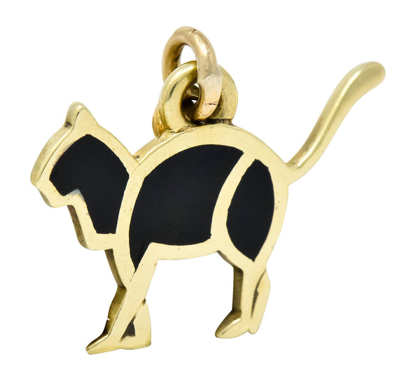 Cartier Vintage Black Enamel 14 Karat Gold Cat Charm - Wilson's Estate Jewelry