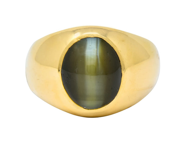 Cats Eye Chrysoberyl 18 Karat Yellow Gold Unisex Ring Ring Cats Eye chrysoberyl Contemporary