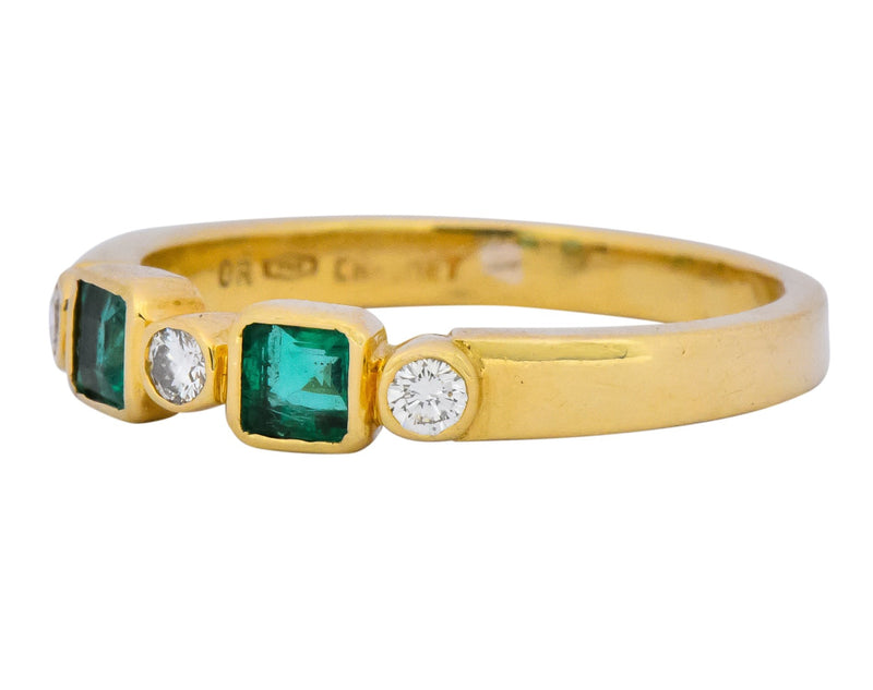 Chaumet Paris Emerald Diamond 18 Karat Gold Stacking Ring Ring