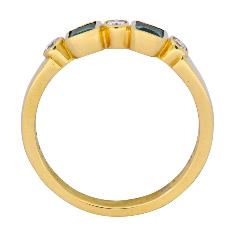 Chaumet Paris Emerald Diamond 18 Karat Gold Stacking Ring - Wilson's Estate Jewelry