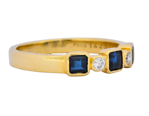 Chaumet Paris Sapphire Diamond 18 Karat Gold Stacking Ring Ring