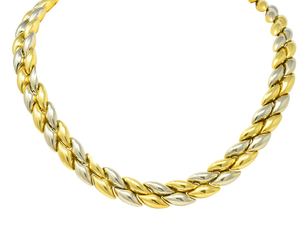 Chimento 18 Karat Two-Tone Gold Italian Puffed Reversible Collar Necklace Necklace