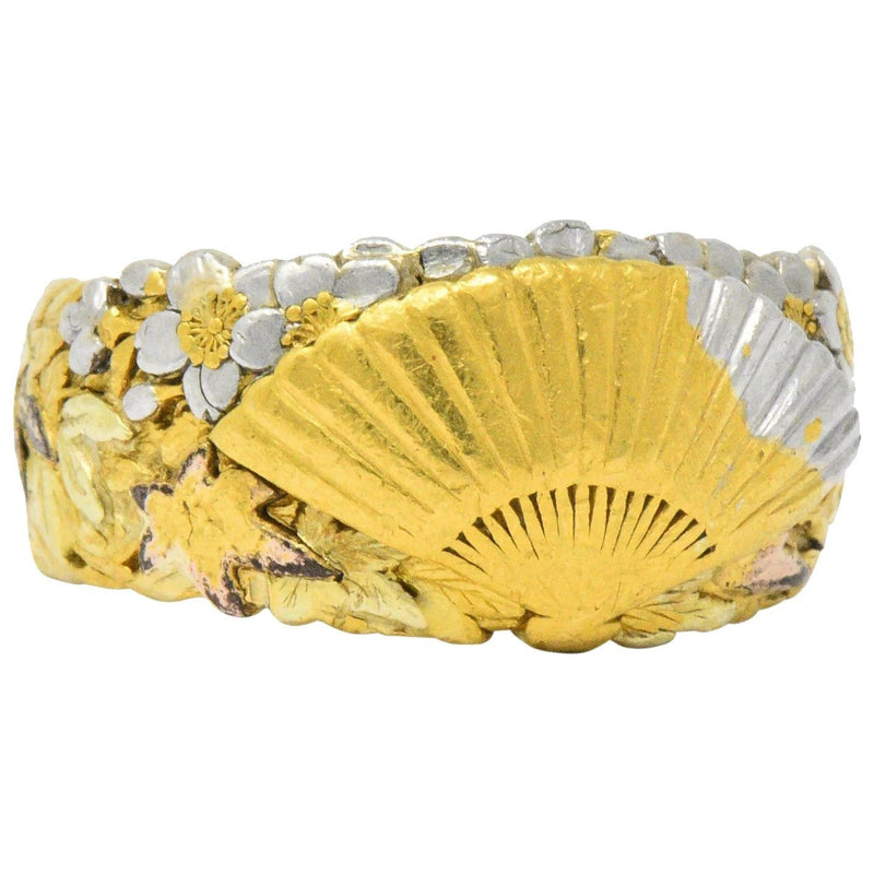 Chinese Late Victorian Tri-Color 22 Karat Gold Platinum Fan Band Ring - Wilson's Estate Jewelry