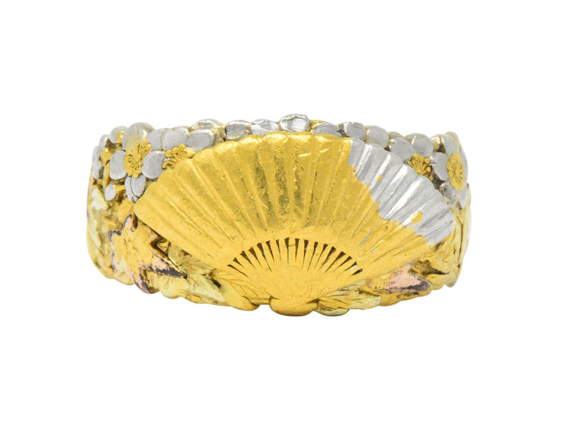 Chinese Late Victorian Tri-Color 22 Karat Gold Platinum Fan Band Ring Ring