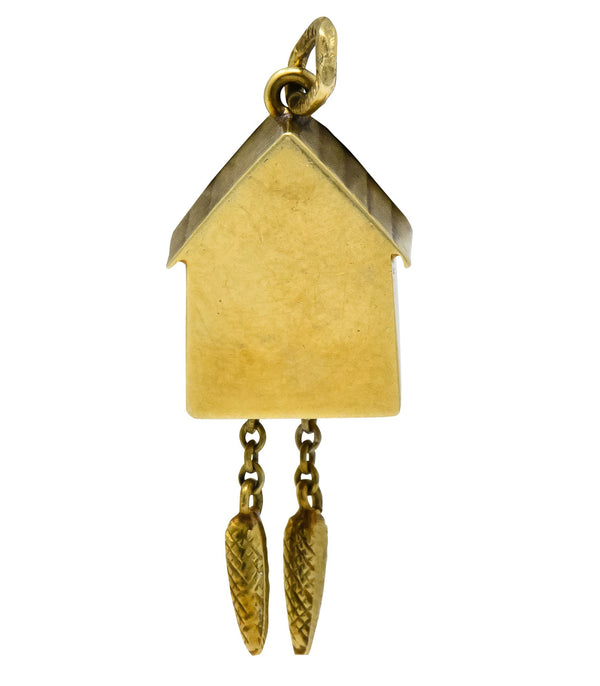 Circa 1905 Antique Enamel 14 Karat Gold German Cuckoo Clock Charm charm