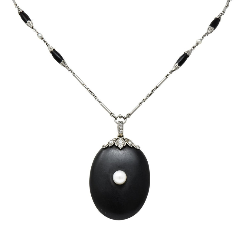 Circa 1910 Edwardian Diamond Natural Pearl Onyx Platinum Long Chain Necklace - Wilson's Estate Jewelry