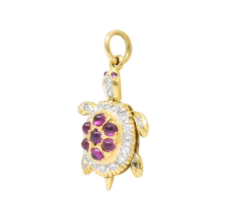 Circa 1980's Vintage 0.56 CTW Diamond Ruby 18 Karat Gold Turtle Charm - Wilson's Estate Jewelry