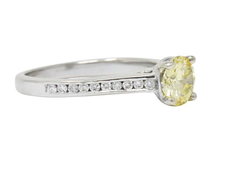 Contemporary 0.79 CTW Fancy Yellow Diamond 14 Karat White Gold Engagement Ring GIA - Wilson's Estate Jewelry