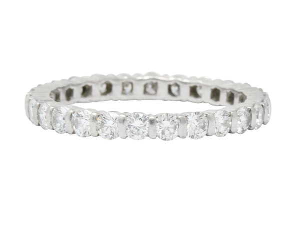 Contemporary 1.00 CTW Diamond Platinum Bar Set Eternity Band Stack Ring Ring