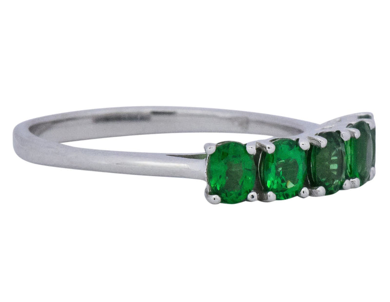 Contemporary 1.25 CTW Tsavorite Garnet 14 Karat White Gold Ring - Wilson's Estate Jewelry