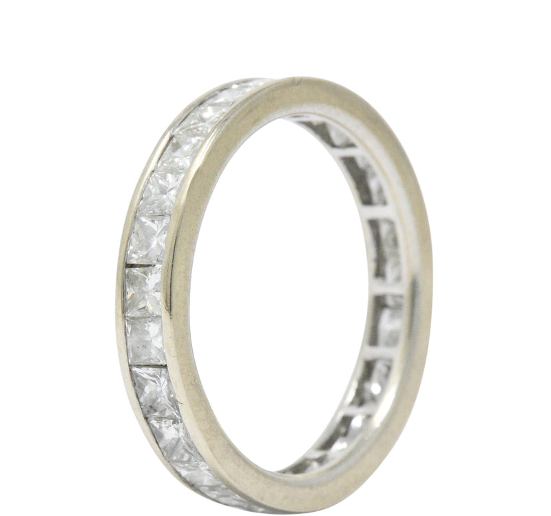 Contemporary 1.80 CTW Diamond 14 Karat White Gold Eternity Band Ring Contemporary