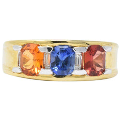 Contemporary 1.80 CTW Tri-Color Sapphire Diamond 18 Karat Gold Unisex Ring - Wilson's Estate Jewelry