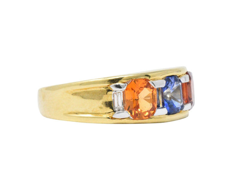 Contemporary 1.80 CTW Tri-Color Sapphire Diamond 18 Karat Gold Unisex Ring Ring
