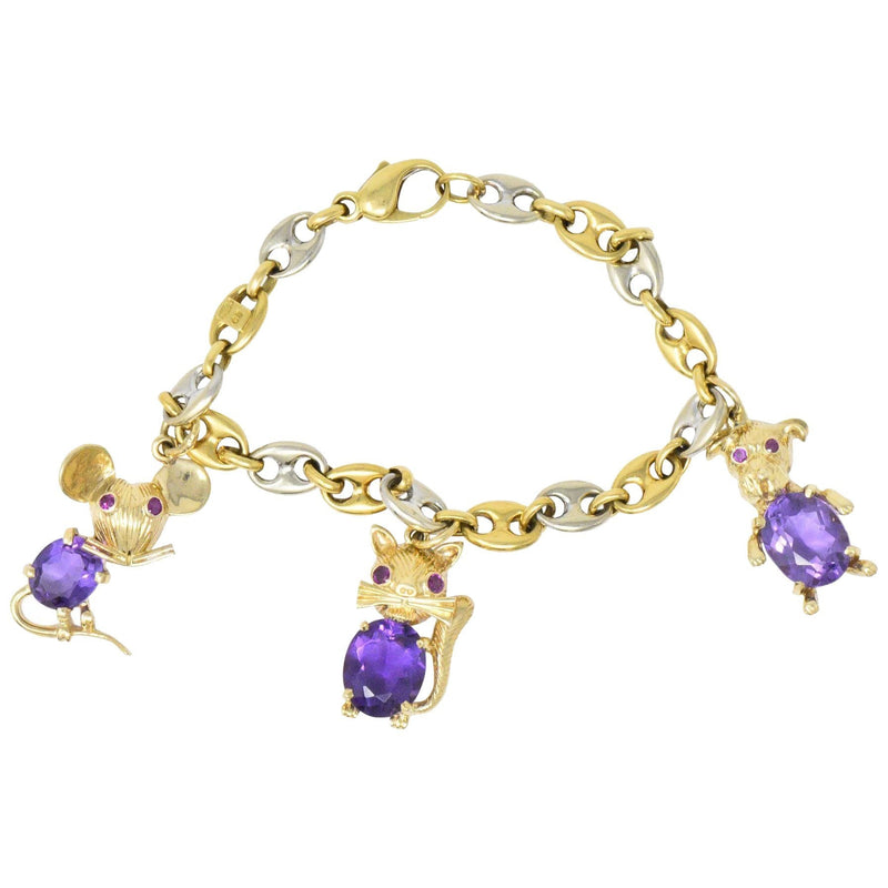 Contemporary 10.70 CTW Amethyst Ruby 14 & 18 Karat Two-Tone Gold Charm Bracelet bracelet Amethyst Contemporary Ruby