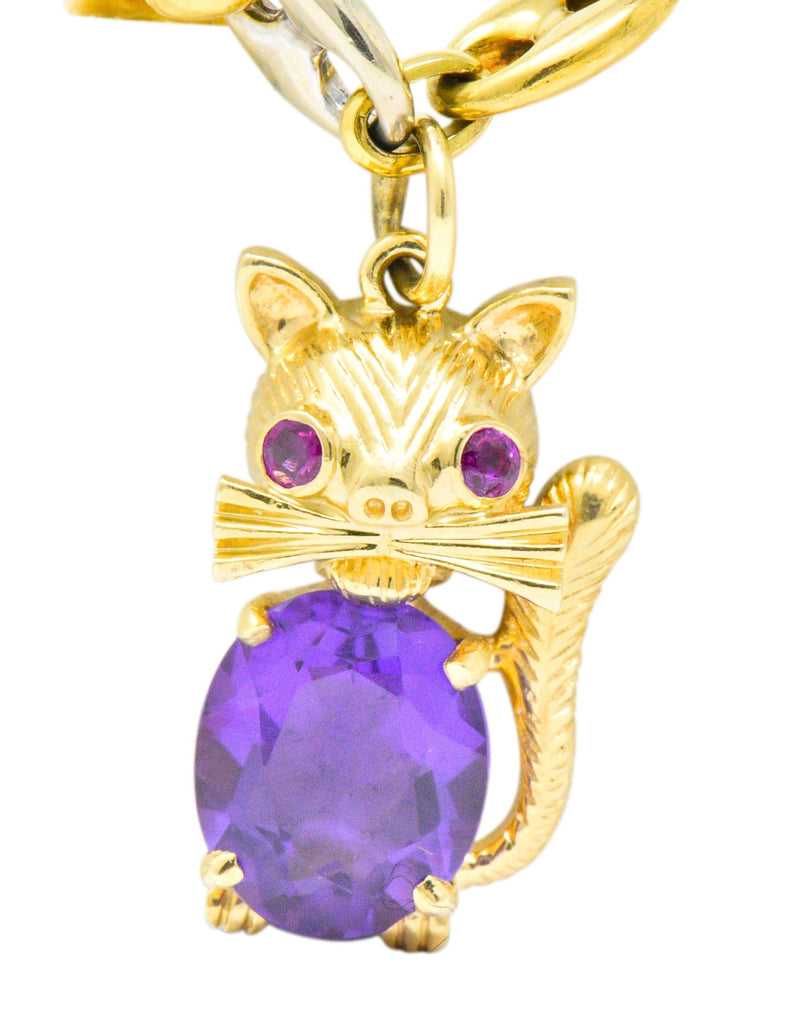 Contemporary 10.70 CTW Amethyst Two-Tone Gold Animal Charm Bracelet - Wilson's Estate Jewelry