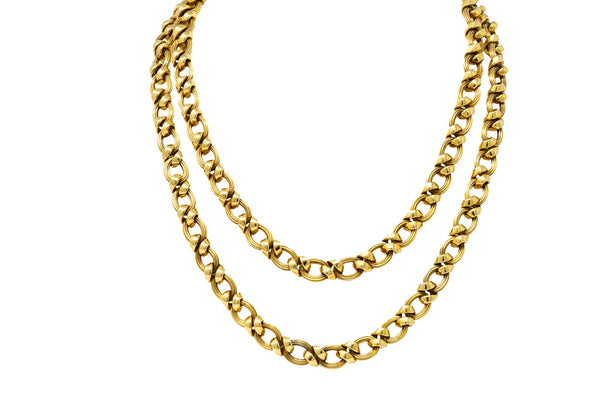 Contemporary 14 Karat Yellow Gold Twisted Link Long Chain Necklace Necklace
