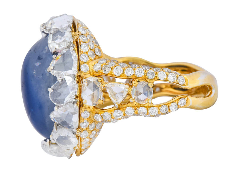 Contemporary 17.00 CTW Sapphire Diamond 18 Karat Gold Cluster Cocktail Ring Ring
