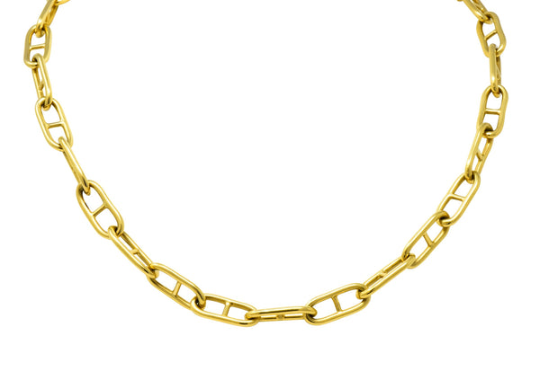 Contemporary 18 Karat Gold Oval Link Chain Necklace Necklace