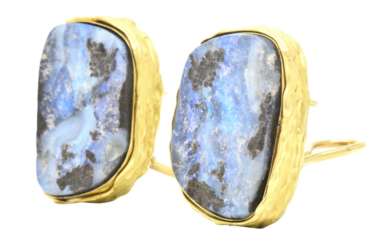 Contemporary 1980's Bolder Opal 18 Karat Gold Earrings - Wilson's Estate Jewelry