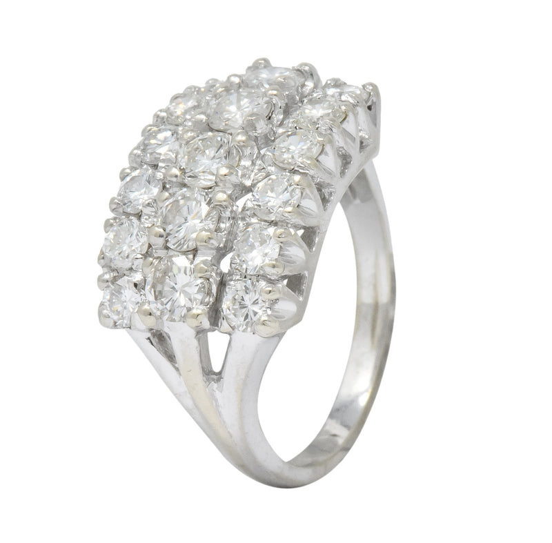 Contemporary 2.00 CTW Round Brilliant Diamond 14 Karat White Gold Cluster Ring - Wilson's Estate Jewelry