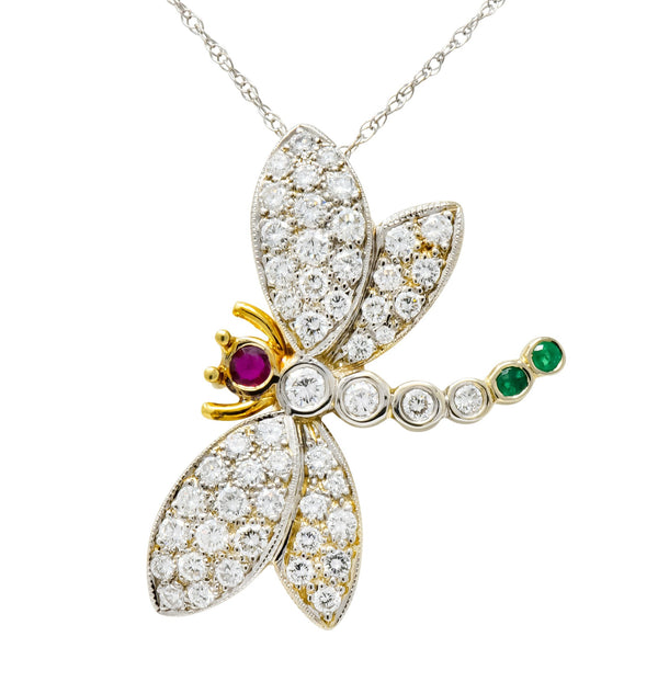 Contemporary 2.36 CTW Diamond Emerald Ruby 18 Karat Two-Tone Gold Dragonfly Pendant Necklace Necklace