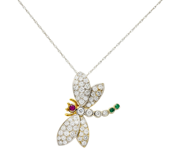 Contemporary 2.36 CTW Diamond Emerald Ruby 18 Karat Two-Tone Gold Dragonfly Pendant Necklace Necklace Contemporary diamond Emerald